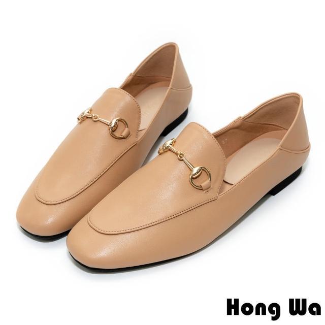 【HongWa】極簡風格•素面牛紋皮扣帶低跟樂福鞋(米杏)