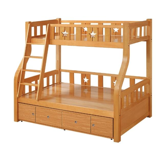 【BODEN】普利實木功能型雙層床架(4尺加大單人+3尺單人-附抽屜櫃)