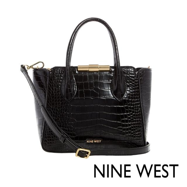 【NINE WEST】HOLLIS時尚鱷魚紋中型手提/斜背包-黑色(116605)