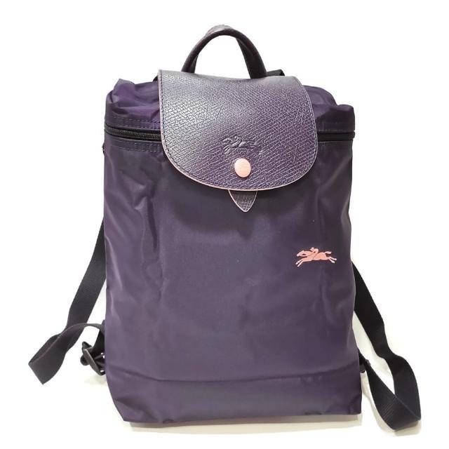 【LONGCHAMP】Le-Pliage 拉鍊尼龍摺疊後揹包(深紫色)