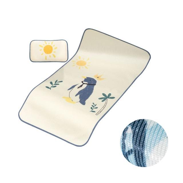 【Muslintree】嬰兒床冰絲涼墊涼蓆枕頭(涼蓆+枕頭組)