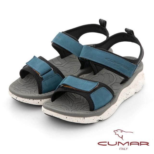 【CUMAR】輕量化真皮彈力厚底涼鞋(藍色)