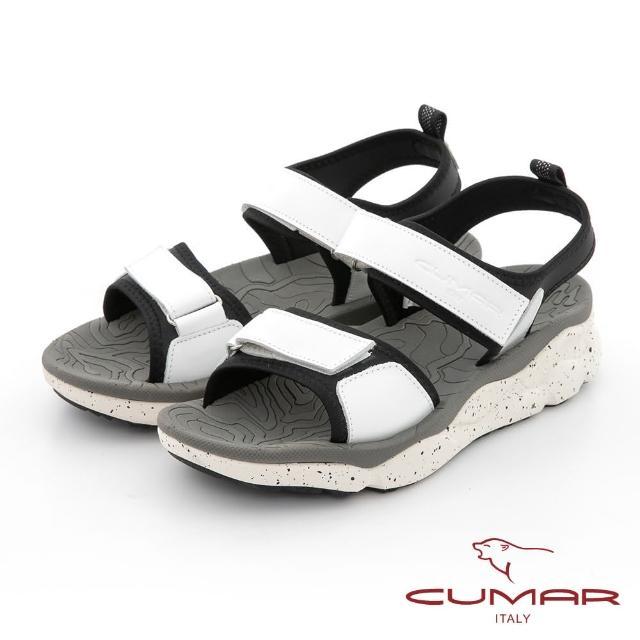 【CUMAR】輕量化真皮彈力厚底涼鞋(白色)
