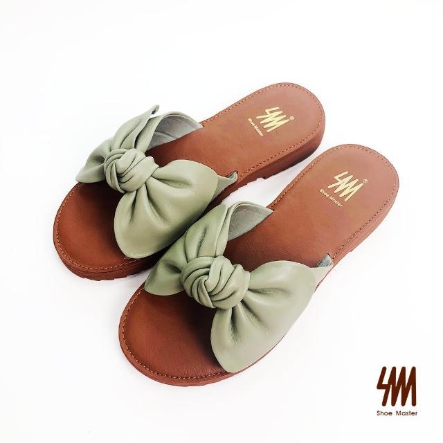 【SM】羊皮軟Q蝴蝶結平底真皮拖鞋(酪梨綠)