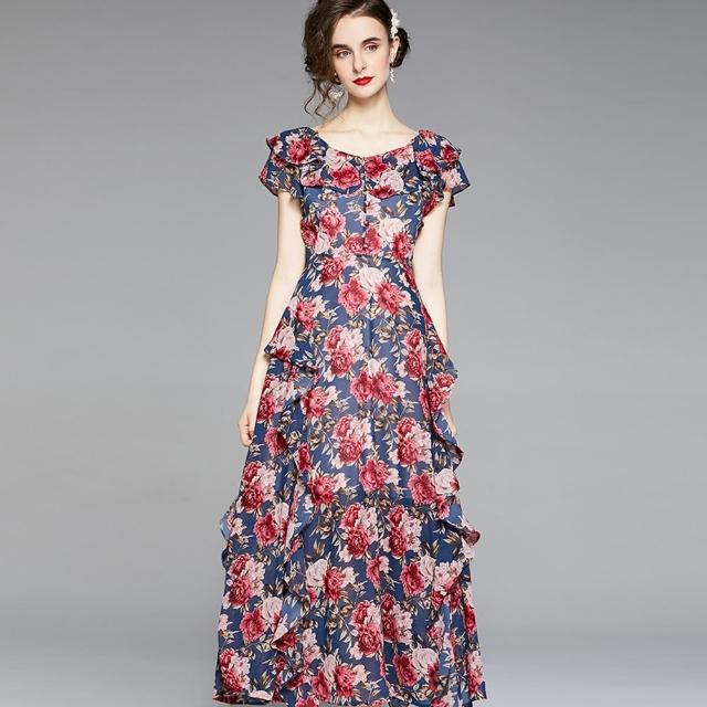 【a la mode 艾拉摩兒】紅玫瑰大捲木耳邊禮服長洋裝(S-2XL)