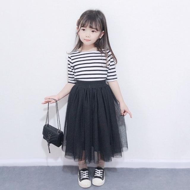 【橘魔法】經典條紋上衣+黑色中長紗裙(套裝 裙子 親子裝 兒童 中長裙 女童 橘魔法 現貨 童裝)