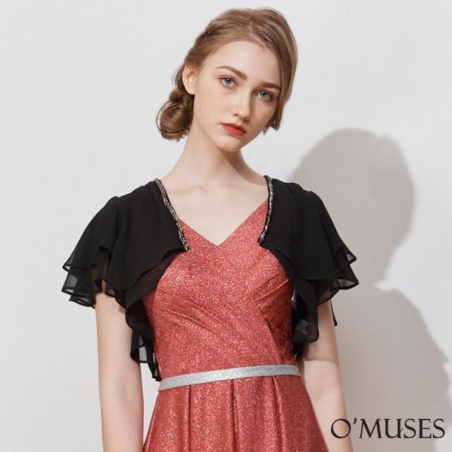 【OMUSES】雪紡珠飾短版黑色罩衫小外套11-6893(S-2L)