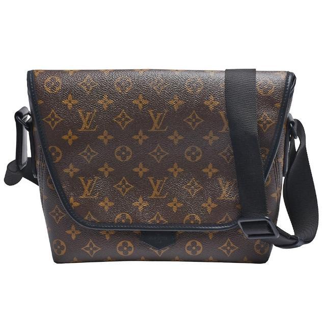 【Louis Vuitton 路易威登】M45557 Macassar經典Monogram帆布磁釦斜背信差包(黑)