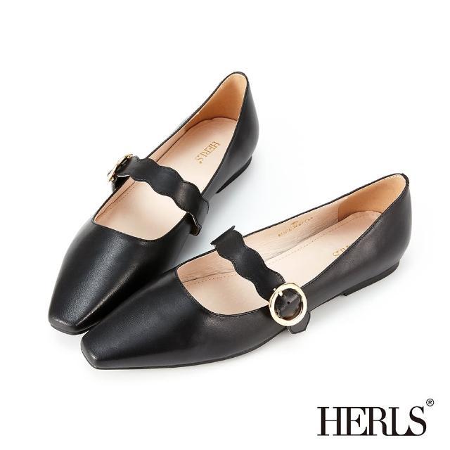 【HERLS】平底鞋-全真皮小方頭波浪瑪莉珍平底鞋(黑色)