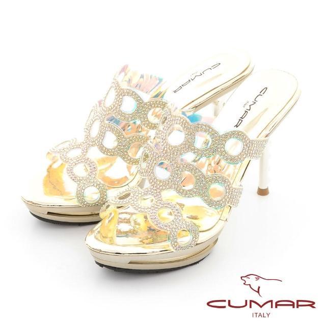 【CUMAR】雷射鏤空排鑽防水台高跟涼拖鞋(金色)