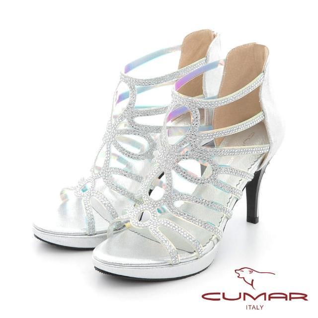 【CUMAR】雷射鏤空排鑽防水台高跟涼鞋(銀色)