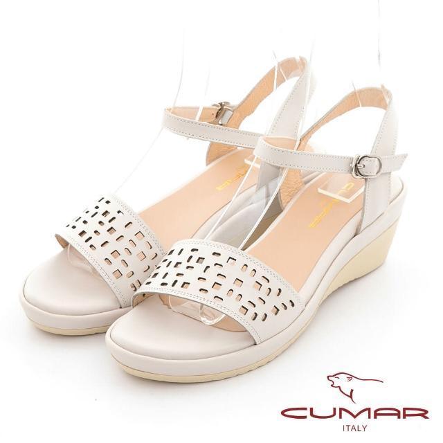【CUMAR】簡約一字帶沖孔涼拖鞋(米色)