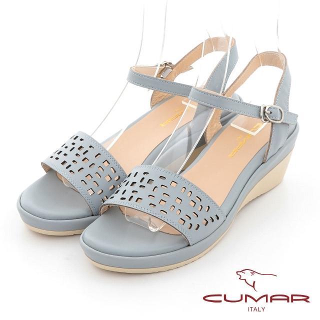 【CUMAR】簡約一字帶沖孔涼拖鞋(水藍)