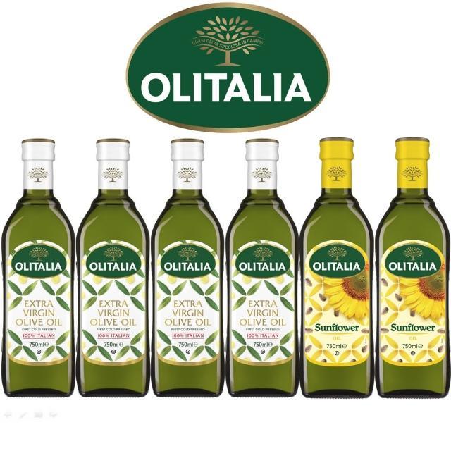 【Olitalia奧利塔】特級初榨橄欖油+葵花油料理組(750mlx6瓶)