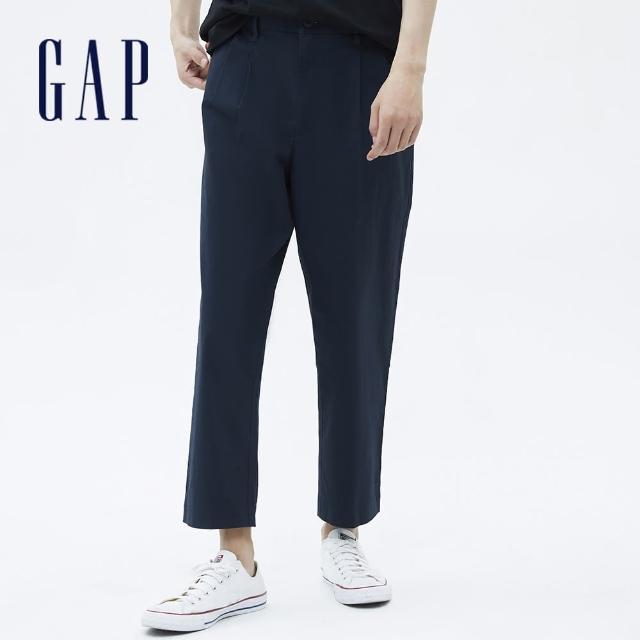 【GAP】男裝 通勤闊腿型寬鬆休閒褲(701293-海軍藍)