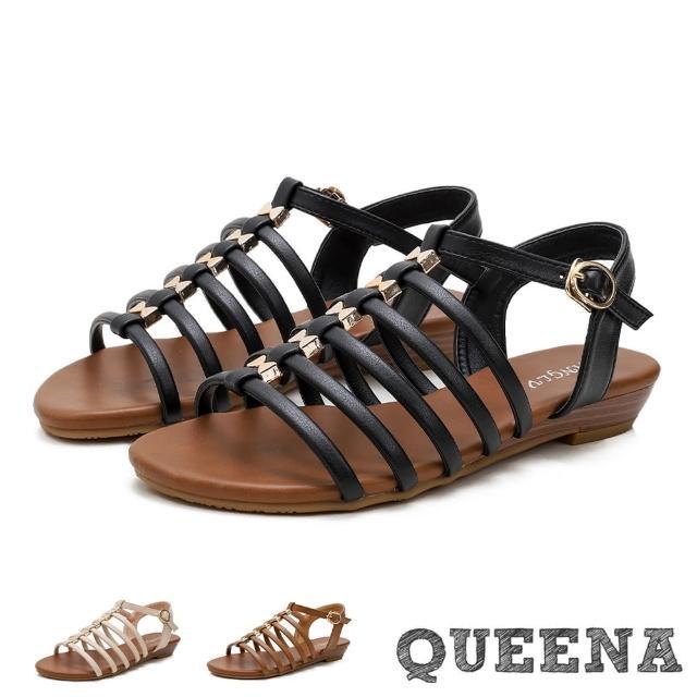 【QUEENA】低跟涼鞋 羅馬涼鞋/復古歐美縷空細帶造型低跟羅馬涼鞋(3色任選)