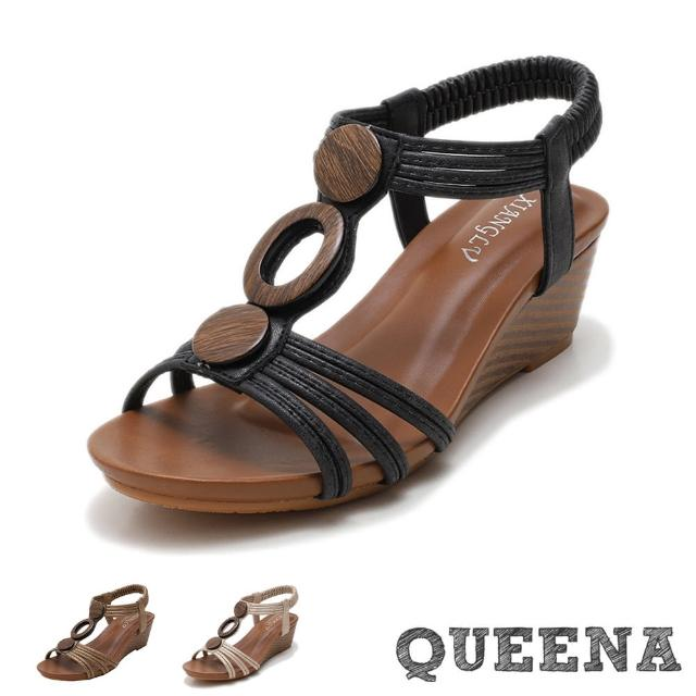 【QUEENA】坡跟涼鞋 楔型涼鞋/典雅縷空線繩復古木釦造型坡跟羅馬涼鞋(3色任選)
