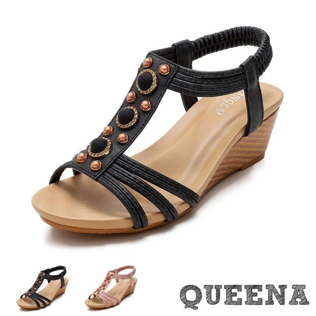 【QUEENA】坡跟涼鞋 楔型涼鞋/珍珠布藝圓釦造型縷空線繩坡跟羅馬涼鞋(2色任選)