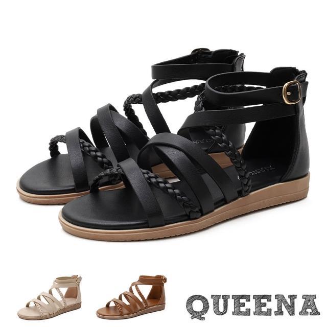 【QUEENA】羅馬涼鞋 編織涼鞋 交叉涼鞋/經典細繩編織交叉造型低跟羅馬涼鞋(3色任選)