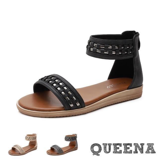 【QUEENA】低跟涼鞋 一字涼鞋/個性經典金屬亮皮編織一字帶低跟羅馬涼鞋(3色任選)