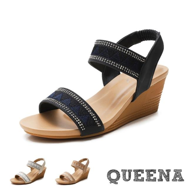 【QUEENA】楔型涼鞋 一字涼鞋/經典民族風一字織帶燙鑽造型坡跟羅馬涼鞋(3色任選)