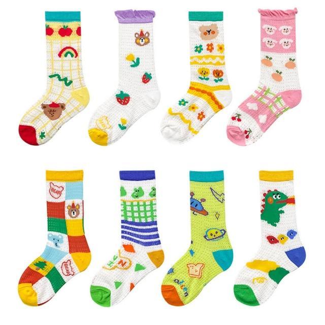 【Baby 童衣】兒童襪子 卡通網眼中筒襪四雙組 88685(共4色)
