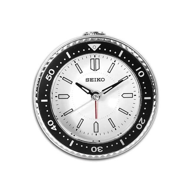 【SEIKO 精工】潛水錶造型 滑動式秒針 燈光照明 貪睡鬧鈴 指針靜音鬧鐘(白色 / QHE184J)