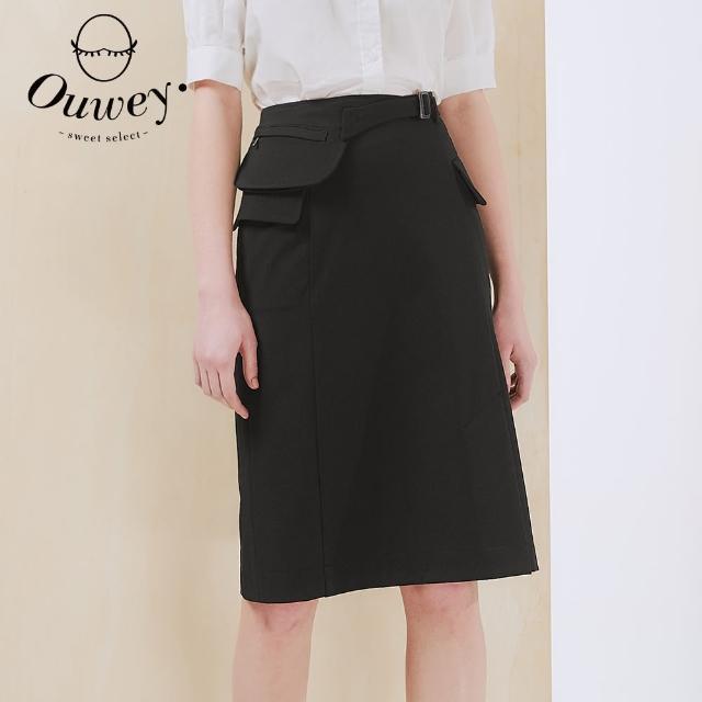 OUWEY 歐薇【OUWEY 歐薇】時尚造型腰包口袋羅馬布中長裙3212062251(黑)