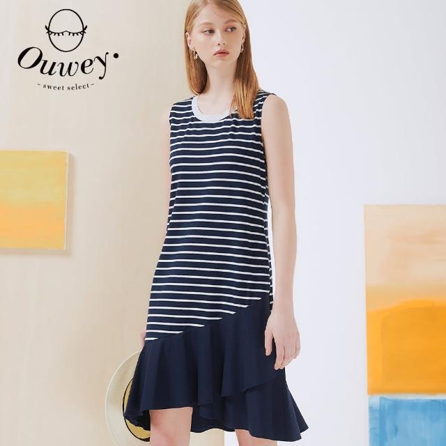 【OUWEY 歐薇】條紋不規則波浪造型無袖洋裝3212077737(深藍)