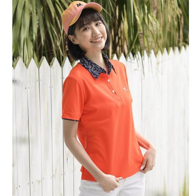 【LEIDOOE】青花瓷休閒女短POLO衫(16891橘)