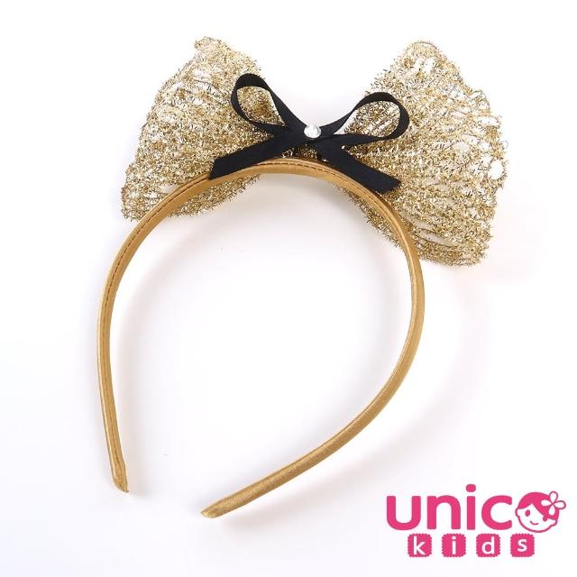 【UNICO】兒童 甜美可立式拍照慶生最佳金色髮箍(飾品/配件/金色/甜美)