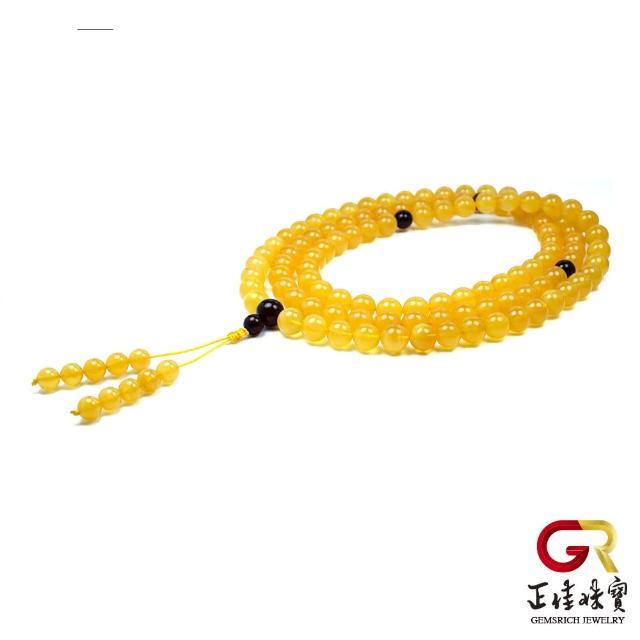 【正佳珠寶】頂級雞油黃老蜜蠟念珠 老蜜轉運平安珠9mm 108顆|特製棉繩(頂級千萬年蜜蠟)