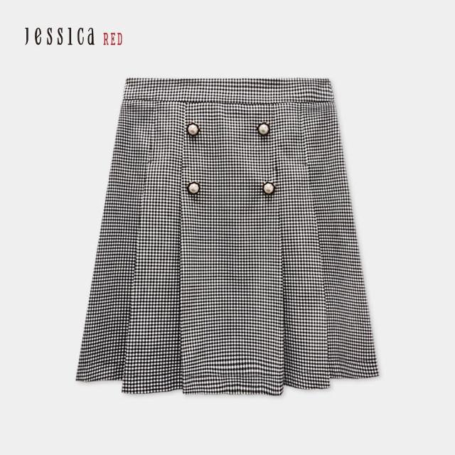 【Jessica Red】時尚黑白細格紋褶皺及膝短裙