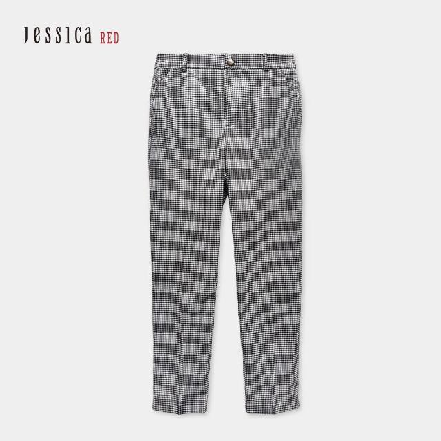 【Jessica Red】時尚百搭黑白細格紋修身窄腳褲