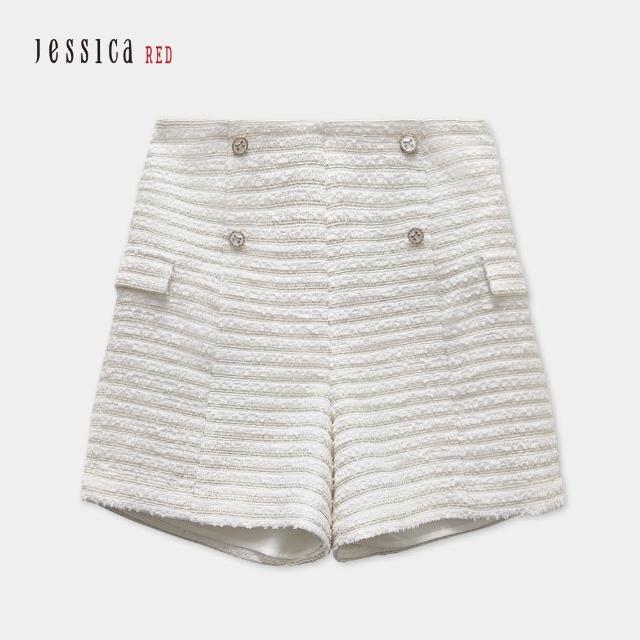 【Jessica Red】修身百搭高腰顯瘦花呢短褲(白)