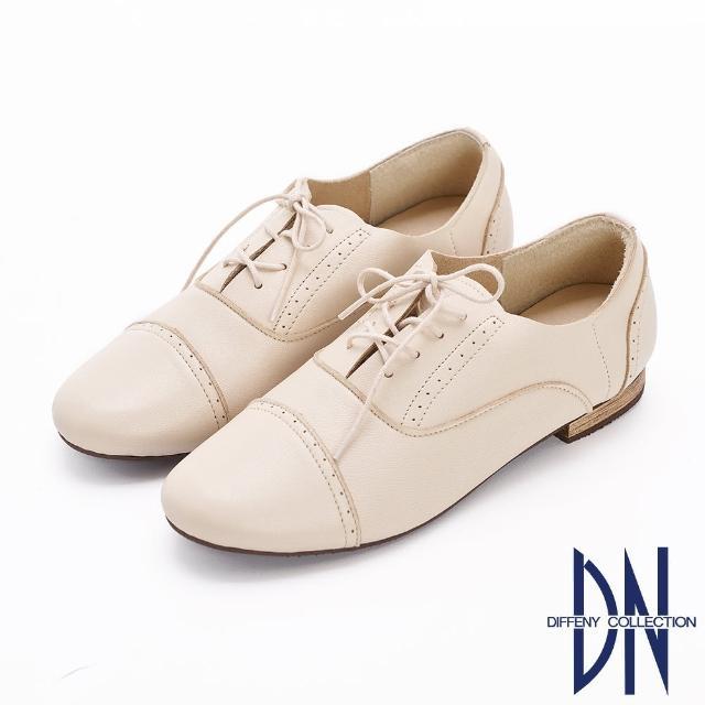 【DN】休閒鞋_MIT柔軟羊皮綁帶低跟牛津鞋(米白)