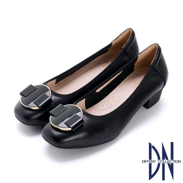 【DN】跟鞋_素面真皮幾何飾釦低跟鞋(黑)