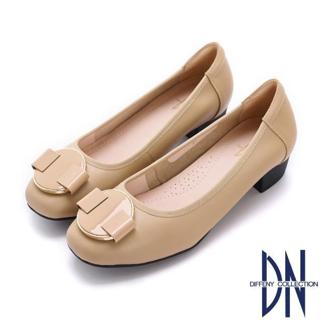 【DN】跟鞋_素面真皮幾何飾釦低跟鞋(駝)