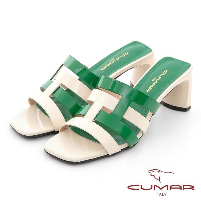 【CUMAR】時髦復古方頭撞色編織鏤空扁跟涼拖鞋(米配綠)