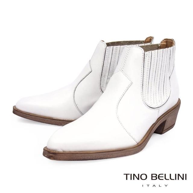 【TINO BELLINI 貝里尼】義大利進口拼接線條皮革造型中跟短靴FNO0003(白)