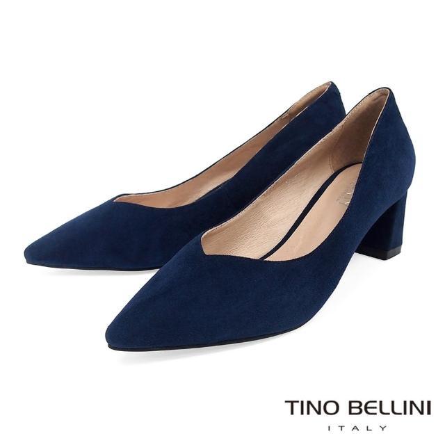 【TINO BELLINI 貝里尼】羊皮尖頭粗跟高跟鞋VI8563(藍)