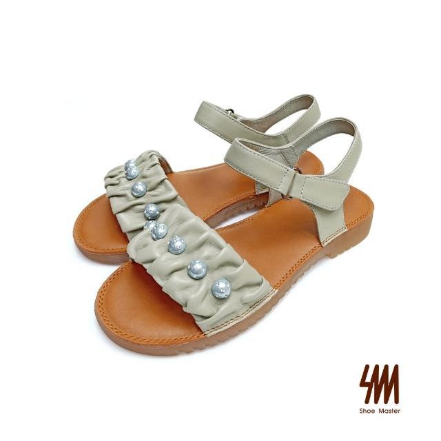 【SM】真皮舒適軟Q珍珠涼鞋(酪梨綠)