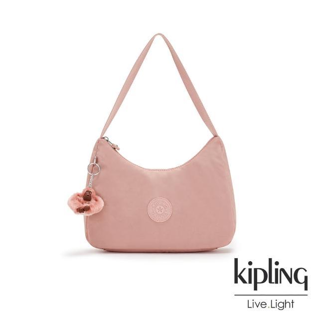 【KIPLING】玫瑰石英粉造型大開口拉鍊手提肩背包-ESTEBAN