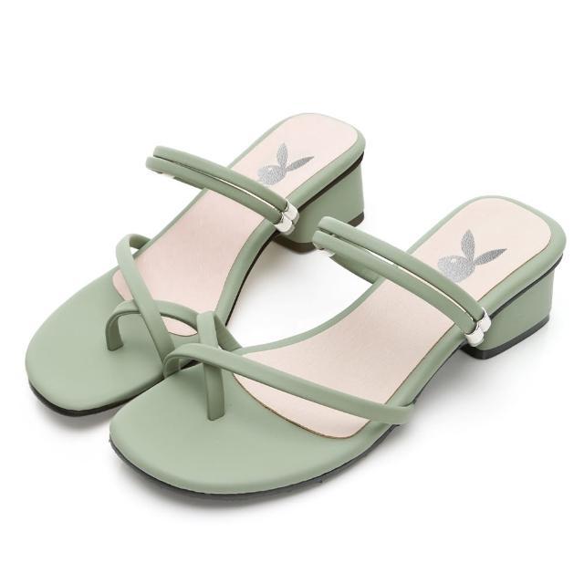 【PLAYBOY】玩美小時光 夏日美型2WAY方跟涼鞋-綠-YD7313DD