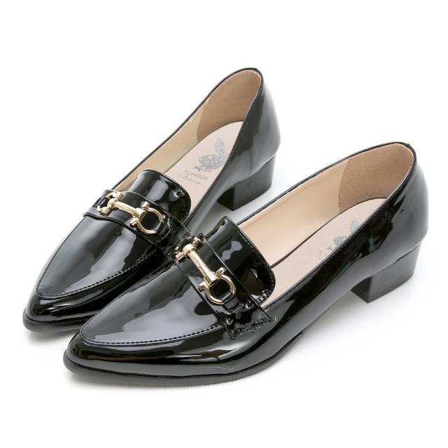 【PLAYBOY】玩美小時光 英倫格調漆皮樂福鞋-黑-YD7317CC