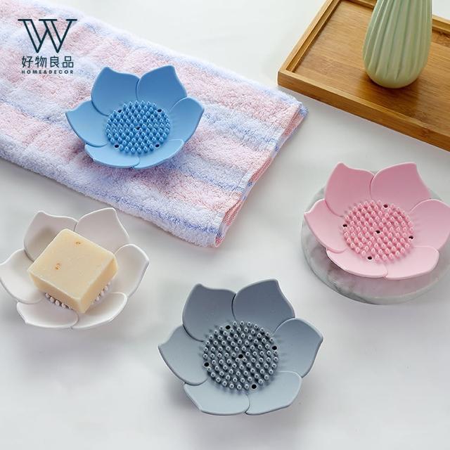 【好物良品】創意矽膠香皂瀝水托盤盒(多款顏色任選)