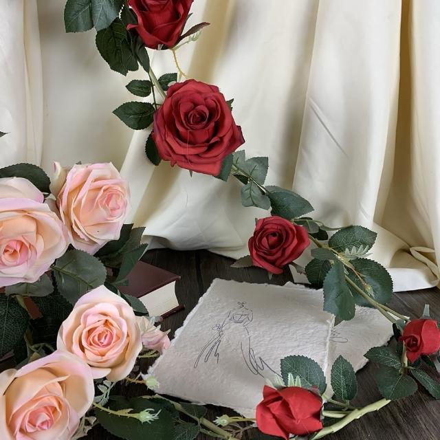 【園藝世界】人造花-玫瑰爬藤-2入(玫瑰 爬藤)