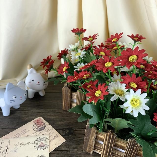 【園藝世界】人造盆花-小野菊長槽-2入(佈景擺飾)