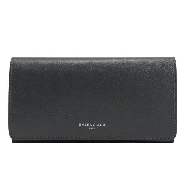 【Balenciaga 巴黎世家】經典品牌LOGO仿舊羊皮扣式發財長夾(鐵灰)