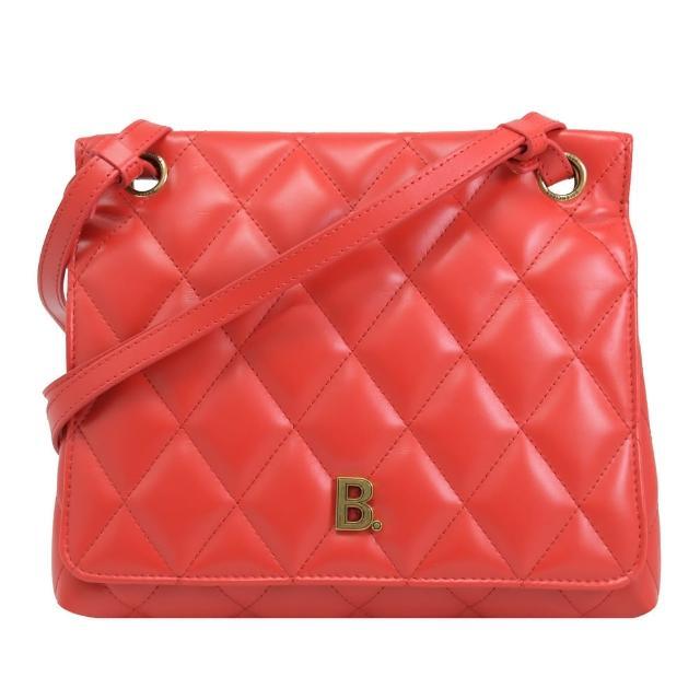 【Balenciaga 巴黎世家】金屬字母B LOGO菱格紋肩斜兩用淑女包(紅)